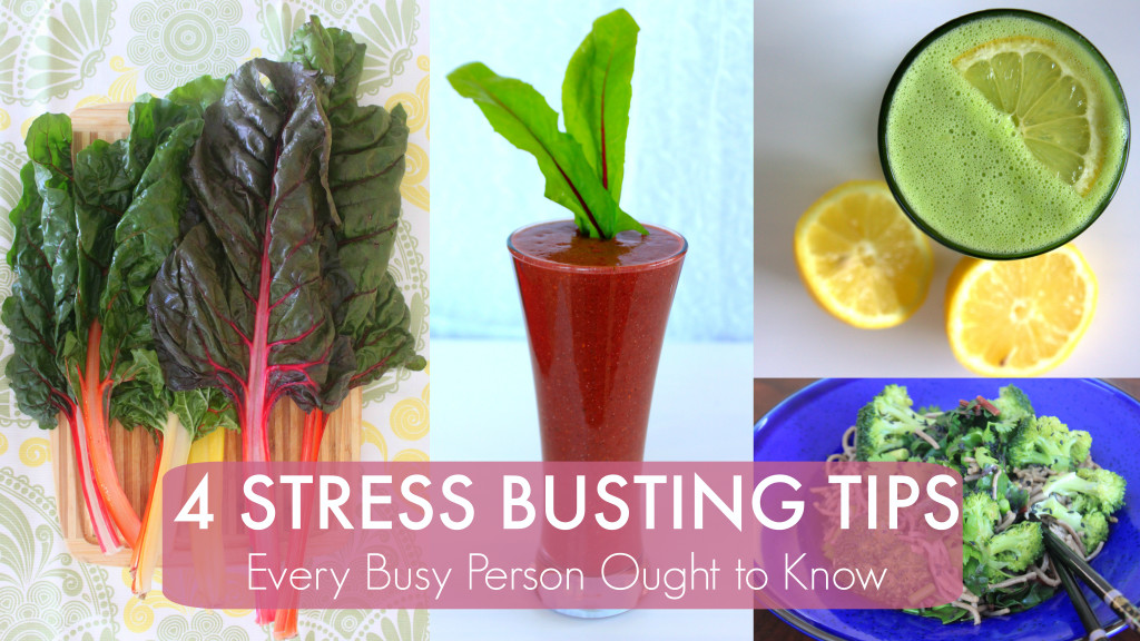 stress busting collage with writing